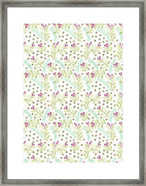 Painted Nature Watercolour Foliage With Berries And Gold Spots_small Scale.jpg Framed Print