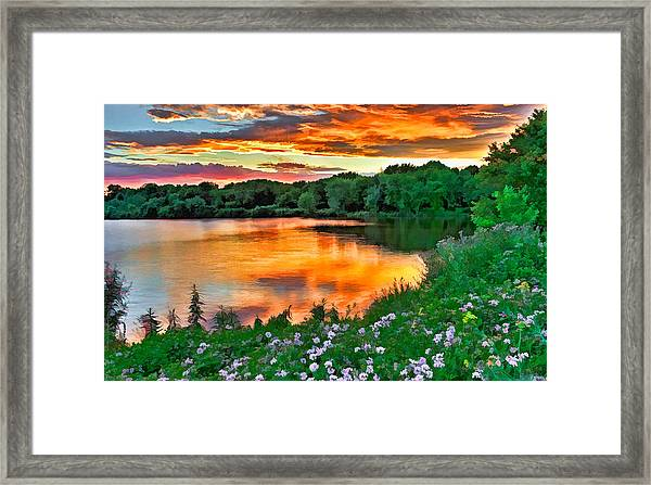 Painted Sunset Framed Print