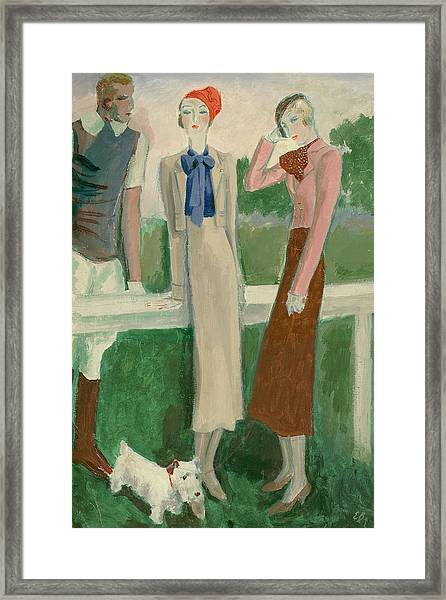 Painting Of A Fashionable Man And Two Women Framed Print