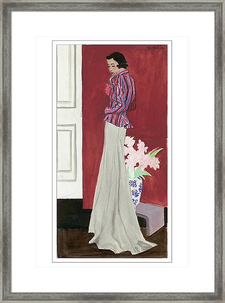 Painting Of A Fashionable Woman Framed Print