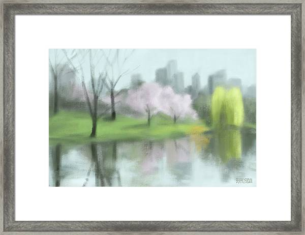 Painting Of Central Park In Spring Framed Print