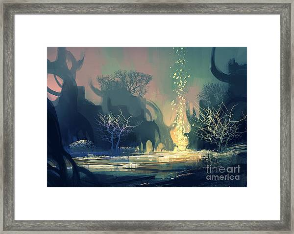 Painting Of Fantasy Landscape With Framed Print