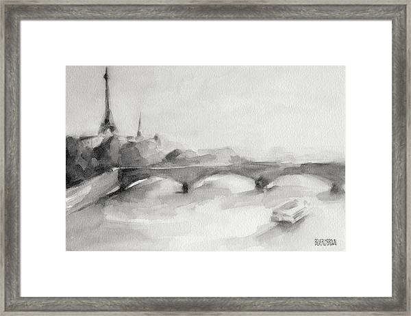 Painting Of Paris Bridge On The Seine With Eiffel Tower Framed Print