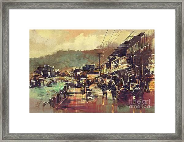 Painting Of Village With A Bridge And Framed Print