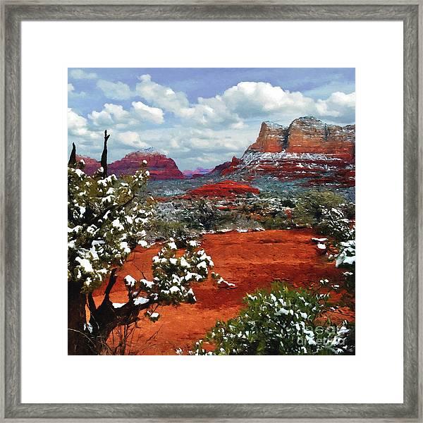 Painting Secret Mountain Wilderness Sedona Arizona Framed Print
