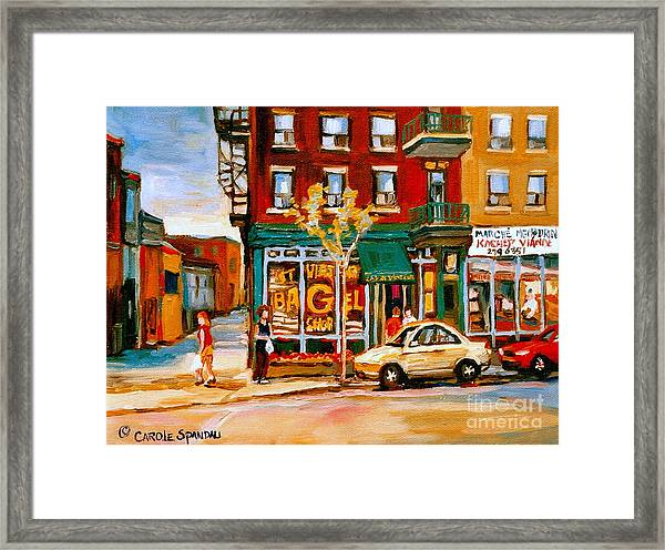 Paintings Of  Famous Montreal Places St. Viateur Bagel City Scene Framed Print