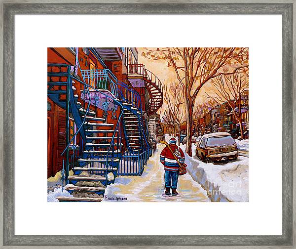 Paintings Of Montreal Beautiful Staircases In Winter Walking Home After The Game By Carole Spandau Framed Print