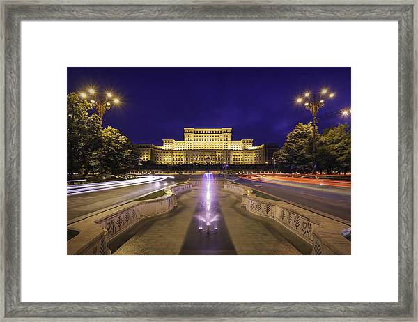 Palace Of Parliament At Night Framed Print by LordRunar
