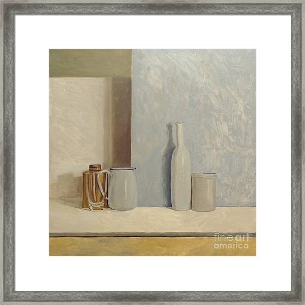 Pale Grey And Blue  Framed Print