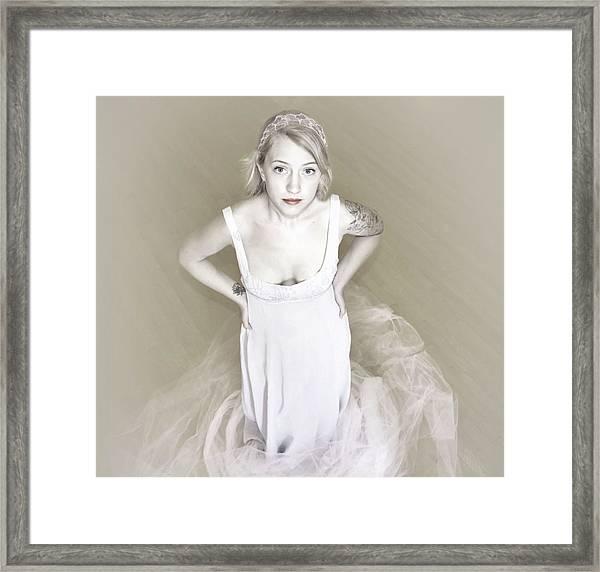 Pale Minimalist Bride Framed Print