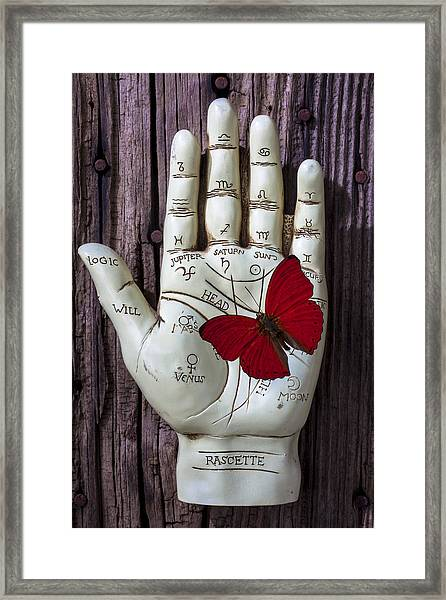 Palm Reading Hand And Butterfly Framed Print