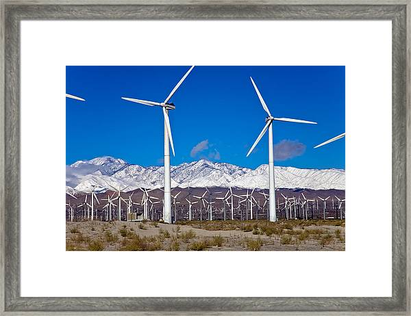 Palm Springs Snow Covered Mountains Framed Print