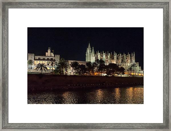 Palma Cathedral Mallorca At Night Framed Print
