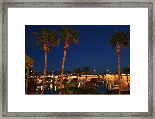 Palms At London Bridge Framed Print