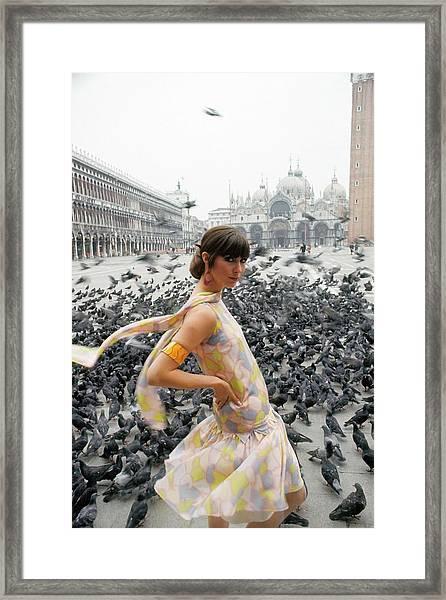 Pamela Barkentin In The Piazza San Marco Framed Print by George Barkentin