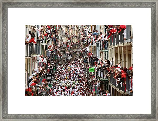 Pamplona Running Of The Bulls Framed Print