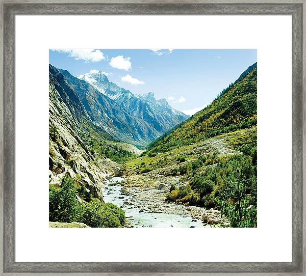 Panarama Of Valley And River Ganga Framed Print