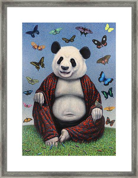 Framed Print featuring the painting Panda Buddha by James W Johnson