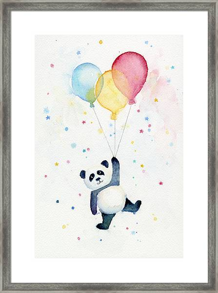 Panda Floating With Balloons Framed Print
