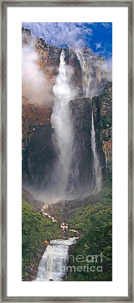 Panorama Angel Falls In Canaima National Park Venezuela Framed Print