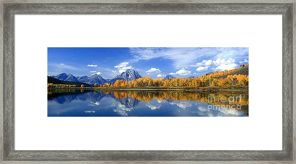 Panorama Fall Morning At Oxbow Bend Grand Tetons National Park Framed Print