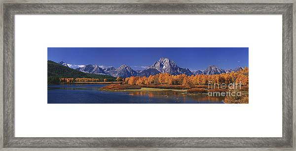 Panorama Fall Morning Oxbow Bend Grand Tetons National Park Wyoming Framed Print
