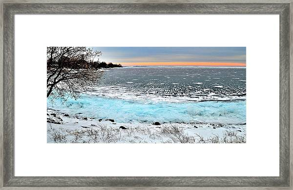Panorama Freeze - Horsey Bay - Kingston - Canada Framed Print