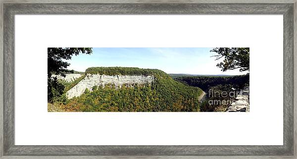 Panorama Of Cliff At Letchworth State Park Framed Print