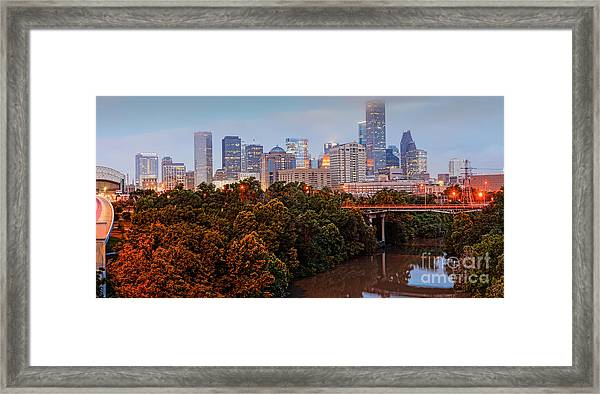 Panorama Of Downtown Houston At Dawn - Texas Framed Print