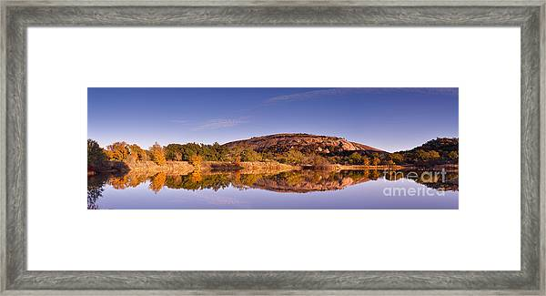 Panorama Of Enchanted Rock In The Fall From Moss Lake - Fredericksburg Texas Hill Country  Framed Print