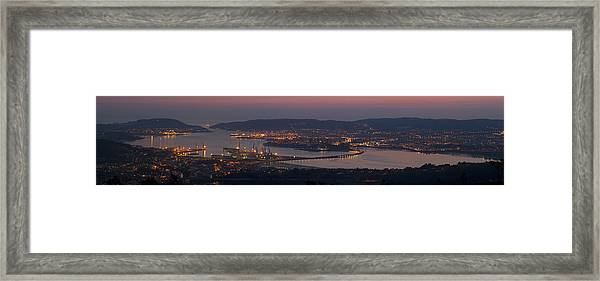 Panorama Of Ferrol From Mount Marraxon Galicia Spain Framed Print