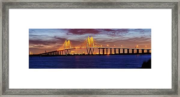 Panorama Of Fred Hartman Bridge Framed Print