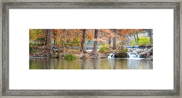 Panorama Of Guadalupe River In Hunt Texas Hill Country Framed Print