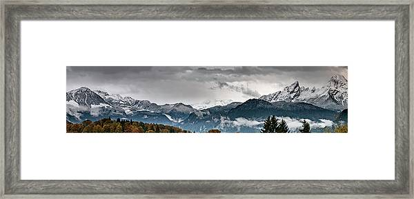 Panorama Of The Berchtesgaden Alps Framed Print