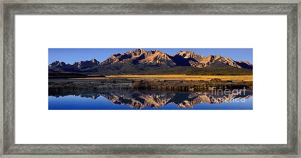 Panorama Reflections Sawtooth Mountains Nra Idaho Framed Print