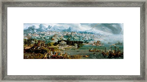 Framed Print featuring the painting Panorama With The Abduction Of Helen Amidst The Wonders Of The Ancient World by Maerten van Heemskerck