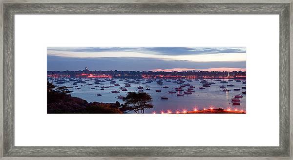 Panoramic Of The Marblehead Illumination Framed Print