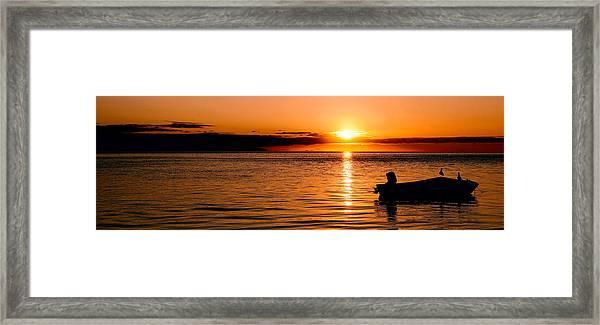 Panoramic Photo Of Sunrise At Monkey Mia Of Australia Framed Print