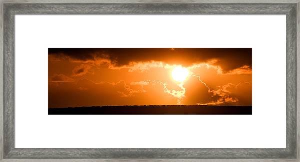 Panoramic Photo Of Sunset At Monkey Mia  Framed Print