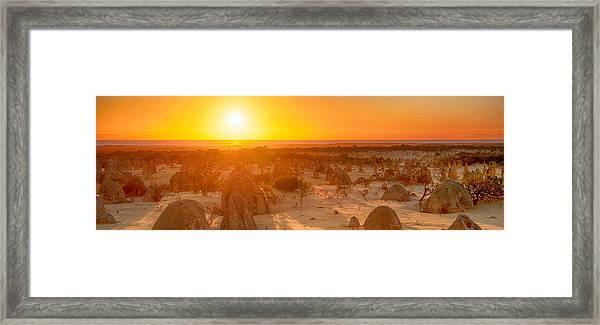 Panoramic Photo Of Sunset At The Pinnacles Framed Print