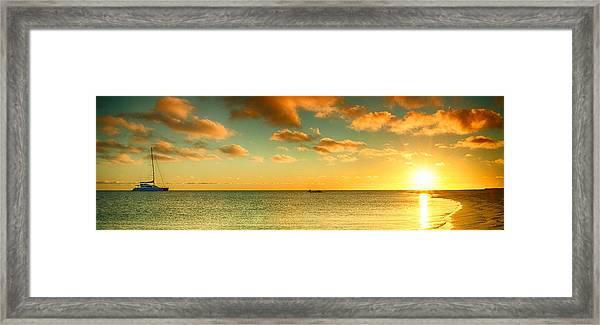 Panoramic Photo Sunrise At Monky Mia Framed Print
