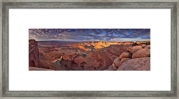 Panoramic Sunrise Over Dead Horse Point State Park Framed Print by Sebastien Coursol