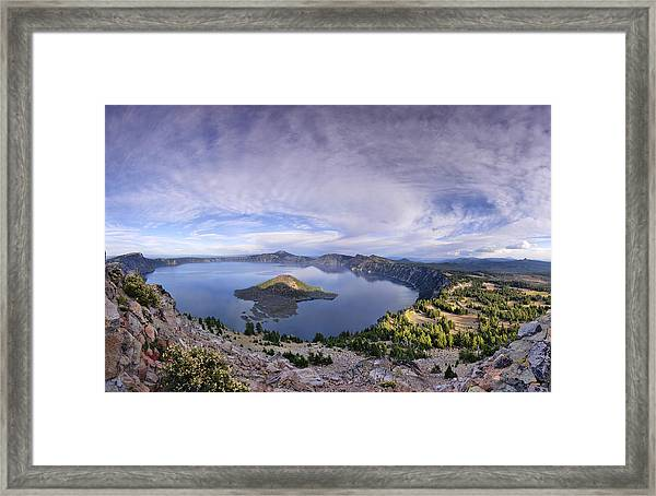 Panoramic View Of Crater Lake And Wizard Island Framed Print by Sebastien Coursol