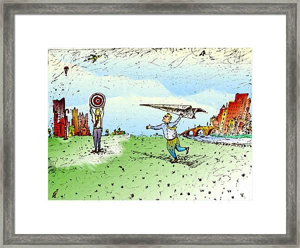 Paper Airplane & Bull's Eye Framed Print by Vasily Kafanov
