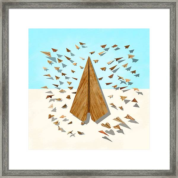Paper Airplanes Of Wood 10 Framed Print