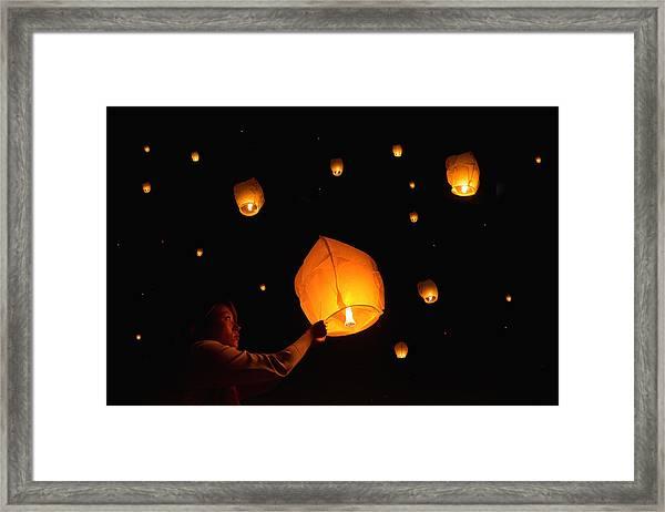 Paper Lanterns Framed Print by Alexander W Helin