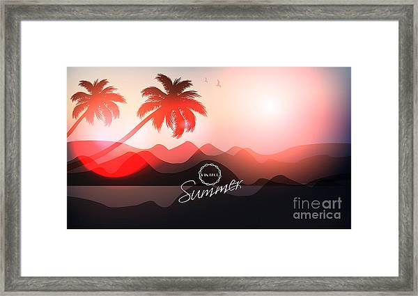 Paradise Island-palm Tree Sunset Framed Print