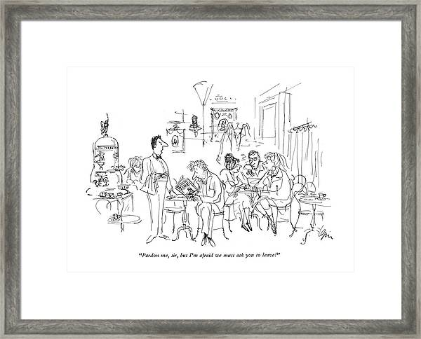 Pardon Me, Sir, But I'm Afraid We Must Ask Framed Print by Everett Opie