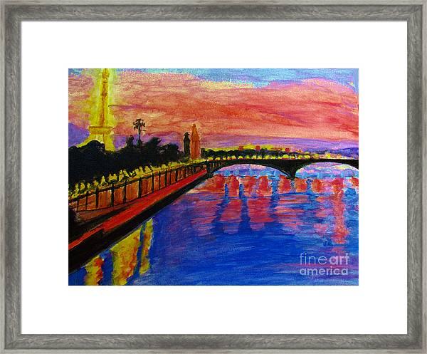 Paris City Of Lights At Dusk Framed Print