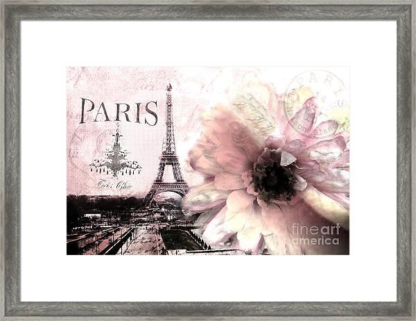 Paris Eiffel Tower Montage - Paris Romantic Pink Sepia Eiffel Tower Flower French Cottage Decor  Framed Print